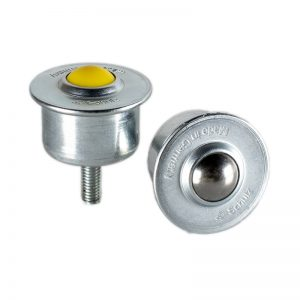 Ball caster with sheet steel casing and collar and thread pin