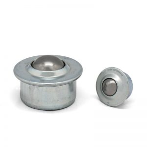 Ball caster - ball units with sheet steel casing and collar