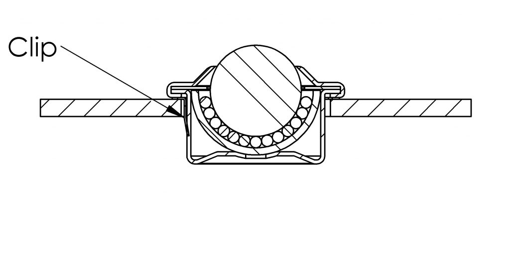 Separate fixing clip for ball caster cut drawing