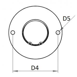 Solid ball caster with head flange and suspension top view