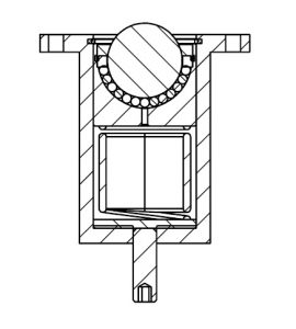 Solid ball caster with head flange and suspension cut drawing