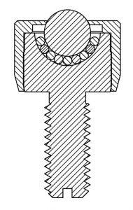 Kugelrolle MINI massiv zylindrischer Kopf und Gewindezapfen