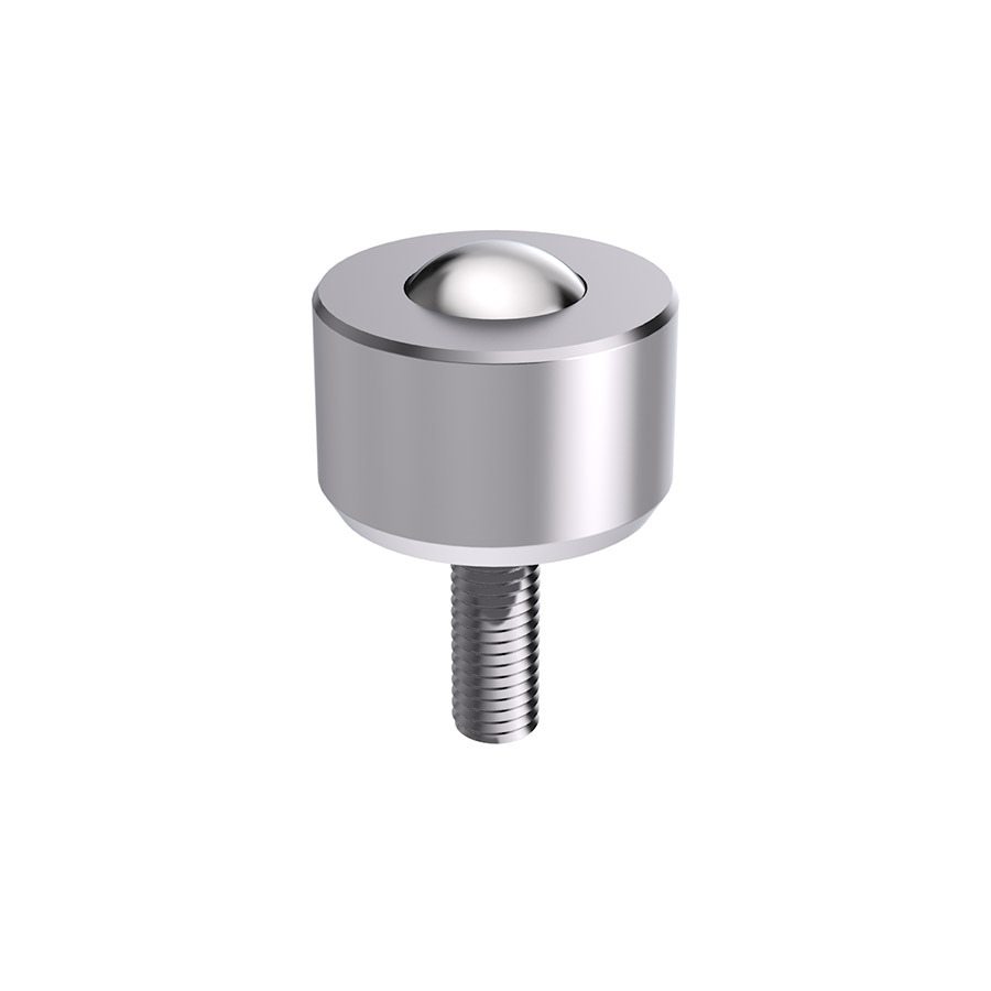 Solid ball caster MINI without collar, with threaded pin & cylindrical head