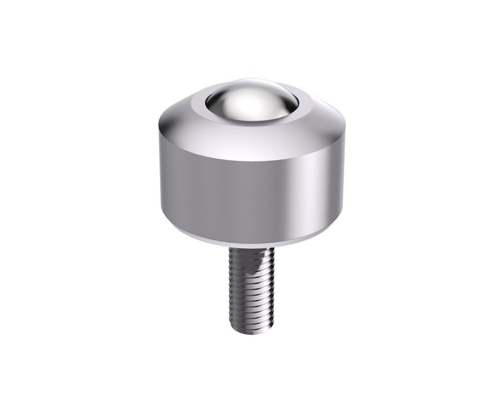Solid ball caster MINI without collar, with threaded pin & aluminum cover with conical head