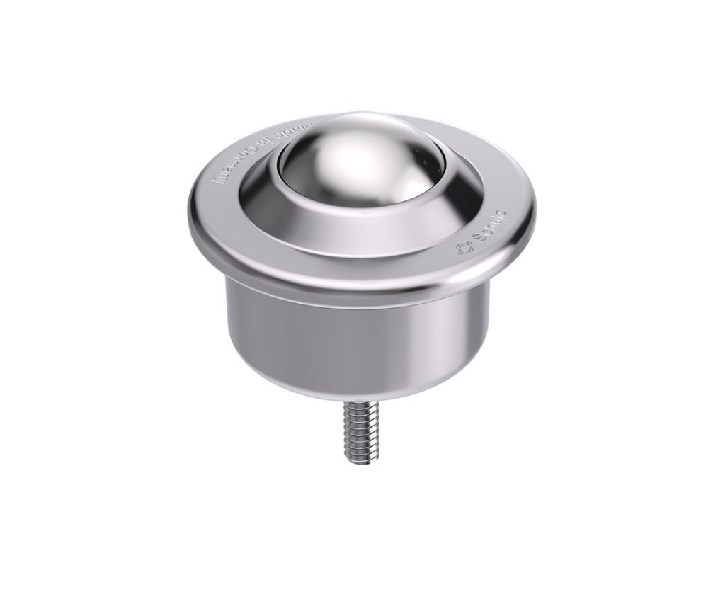 Ball Caster with sheet steel casing, collar and threaded pin